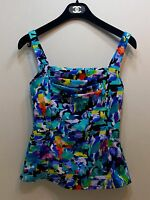 Caribbean Joe Swim Multi UW Underwire Tankini Swimwear Top Sz 8 NWT i16