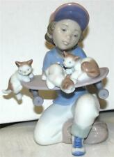 "Lladro ""Little Riders"" Boy w/ Skateboard and Kittens- #7623 Mint with Box"