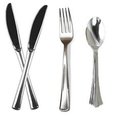 162 Quality Plastic Silver Cutlery Disposable Forks Knives Spoons Party Picnic