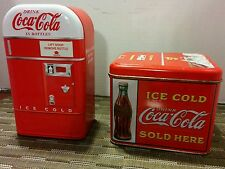 2  Tin Metal Coca-Cola COKE Vending Machine Canister & Coke Chest Tin.