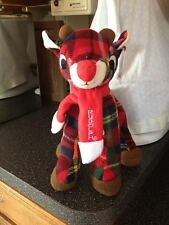 """RUDOLPH THE RED NOSE REINDEER Soft Plaid Plush with Scarf New With Tags 11"""" RARE"""