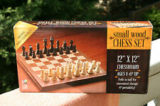 """""""SMALL WOOD"""" CHESS SET .Go Classic game. 11 1/2"""" x 11 3/4"""" chessboard"""