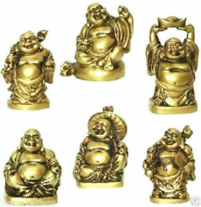"""Set of 6 BRONZE Feng Shui Laughing HAPPY Buddha Figures & Statue Luck 2"""""""