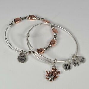 Alex and Ani Coral sea shell beach Set Of 2 Two Tone