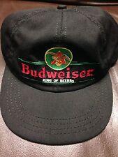 #F6 Vintage Hat Cap Snap Strap Back Budweiser King Of Beer Made In USA Black