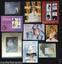 New Diana COLLECTION OF 9 miniature sheets various STAMPS limited qty. MNH