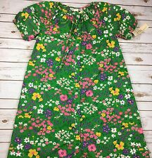 VTG Buzz About Size 18 Floral Jiffy coat patio house dress NWT green spring
