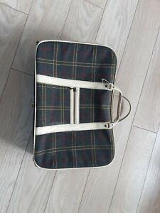 Marks & Spencers Tartan Vintage Retro Canvas Suitcase classic car VW camper van