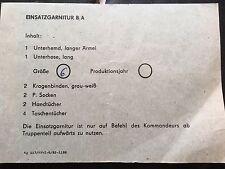 Original, Packzettel Einsatzgarnitur B/A