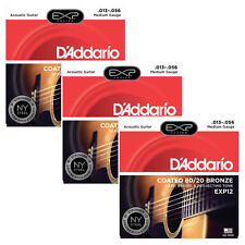 3 Sets of D'Addario EXP12 Coated 80/20 Bronze Medium Acoustic Guitar 13-56