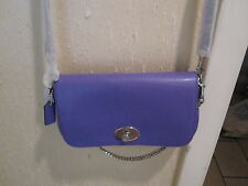 NWT Coach Mini Ruby Cross Body Cross Grain Leather Bag -Purple Iris - $295