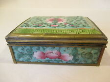 VINTAGE ORIENTAL ASIAN FLORA PORCELAIN AND BRASS TRINKET BOX RARE