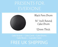 "14"" inch Round Black Wedding Birthday Cake Drum / Board 12mm"