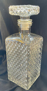 Vintage Italian 50s ornate faceted Crystal Glass Bar ware Decanter