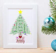 Personalised Christmas Tree Word Art Print Christmas Gift Customised
