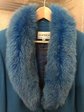 Aqua Blue Women's Suit Size 8 Fox Fur Lily and Taylor Dress Suit New With Tags