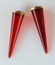 VINTAGE 2 RUBY RED PLASTIC CONE SHAPED PENDANTS BRASS BEAD CAPS 48mm