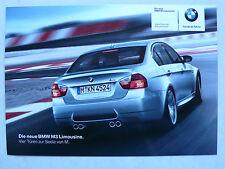 Prospekt / Foto BMW M3 Limousine zur Premiere, 2007, Text auf Rückseite