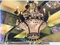 Antique French Belle Époque chandelier solid gilt bronze with rams head decorati