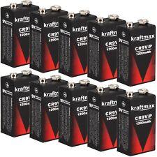 10x 9V Lithium Rauchmelder 10 Jahres Block Batterien mit 1200 mAh von kraftmax