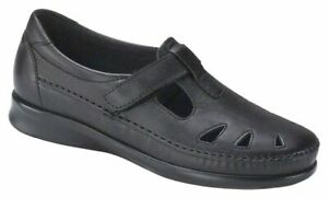 SAS ROAMER Womens Black 2190 013 Leather Comfort Slip On Shoes