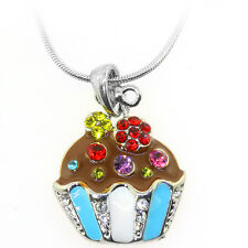 """Multi Color Cup Cake Charm Pendant with Multi Color Crystals and 16"""" Snake Chain"""