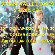 5-20 % off Steam wallet codes ( $100 value) Limited Time Special Deal