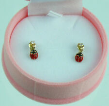 9 CT SOLID GOLD ENAMELED  STUD EARRINGS FOR GIRLS