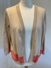 H&M 100% Cotton Open Cardigan Beige Pink Colour Block Size Large Casual BNWT