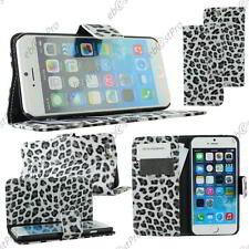 "Housse Coque Etui Portefeuille Livre PU Cuir Leopard Noir Apple iPhone 6S 4,7"""