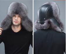 Mens Real Fox Fur Hat Russia Trapper Hunter Earflap Cap Leather Earflap Ushanka