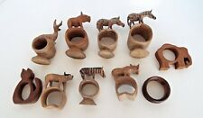 ANIMAL NAPKIN RINGS 10 Carved Wood  Zebra Gazelle Hippo Yak Elephant Cat Lot