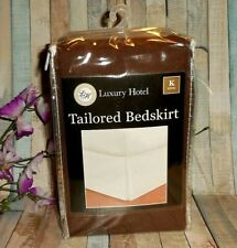 """Luxury Hotel Tailored Bed Skirt ~ Brown ~ King ~ New ~ 14"""" Drop"""