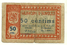 GUERRA CIVIL (NOTGELD) ANGLES. 50 CÉNTIMOS DE 1937 (RC)