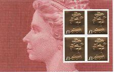 GB 2017  50TH Machin £1 Gold Foil U/M Booklet Pane of 4 RM - SALE TIME