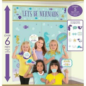 Mermaid Party Photo Props + Scene Setter Background Poster - Purple Green Blue