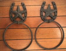 "2 Star Horseshoe Western Decor 10"" TOWEL RACKS RINGS brown Rustic cast iron bath"
