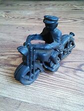 """Hubley Inspired Vintage Cast Iron HARLEY DAVIDSON 6.25"""" Motorcycle with Rider"""