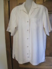 $180 Tommy Bahama Shirt Camp Bowling Pocket Short Sleeve Beige Silk Small 36 15""