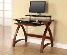 Walnut Laptop / Computer Desk & Keyboard Shelf PC201-900mm by Jual Furnishings