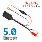 Car Bluetooth V5.0 Radio Stereo Audio Cable Adapter 2 RCA Connector Music Aux