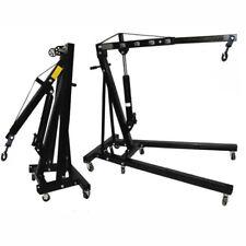 Pure Black 1 Ton Folding Hydraulic Crane 2000 lb Engine Stand Motor Hoist Lift