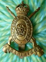 Hampshire Yeomanry Carabiniers Cap Badge KC All BRASS Slider ANTIQUE Original