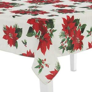 Essential Home Winter Poinsettia Christmas Tablecloth Oblong 60x102 Open Package