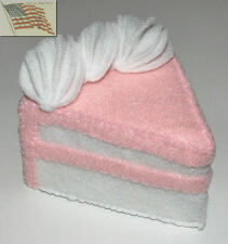 felt food play toys 1 WHITE CAKE WEDGE WITH LITE PINK FROSTING WHITE CREAM EDGE