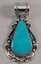 Navajo Sterling Silver Kingman Turquoise Handmade Pendant - William Begay