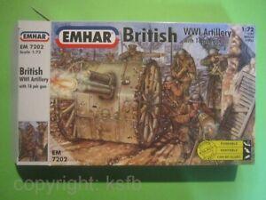 1:72 Emhar 7202 WKI England Britische Artillerie 18 Pfünder Kanone + MG Schütze