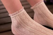 Women Lady Girl Retro creamy white Fancy Ankle Heart Frilly Short Lace Socks