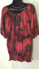 AVENUE fuschia/burgundy patterned top with smocked hem - PRETTY - SIze 18/20