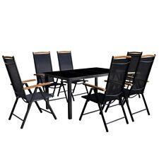 VidaXL Siebenteiliges Gartenmöbel Set Aluminium Schwarz
